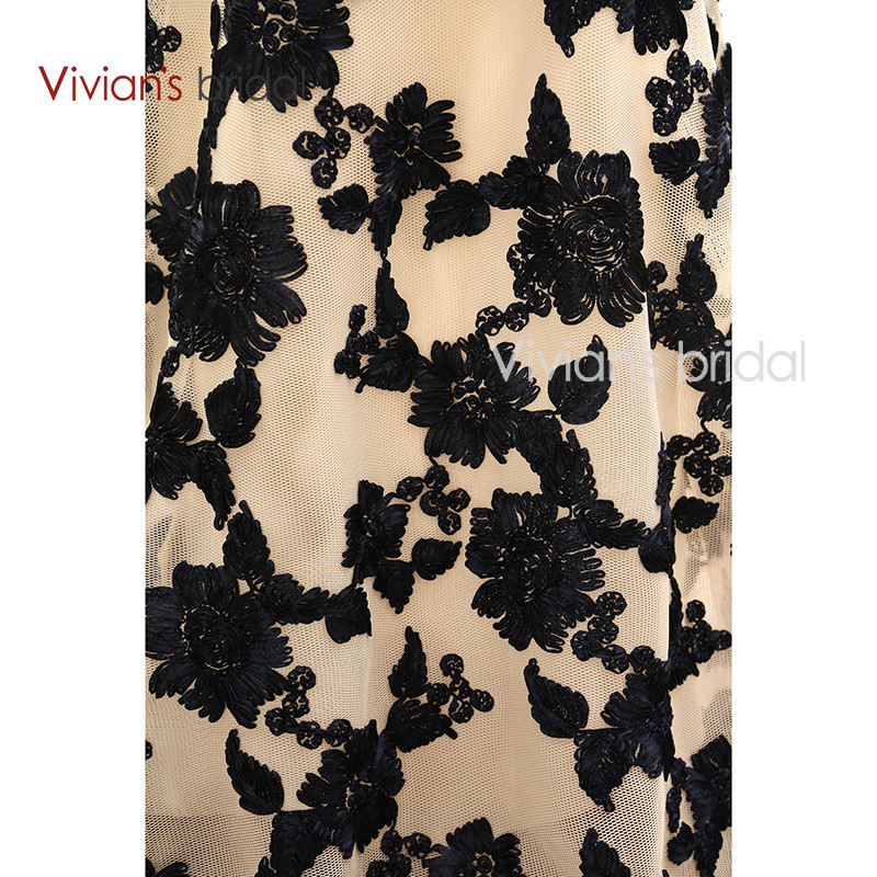Vivian's Bridal Elegant A Line Evening Dresses Satin Floral Print Lace Long Formal Evening Gown Floor Length Women Party Dresses 14