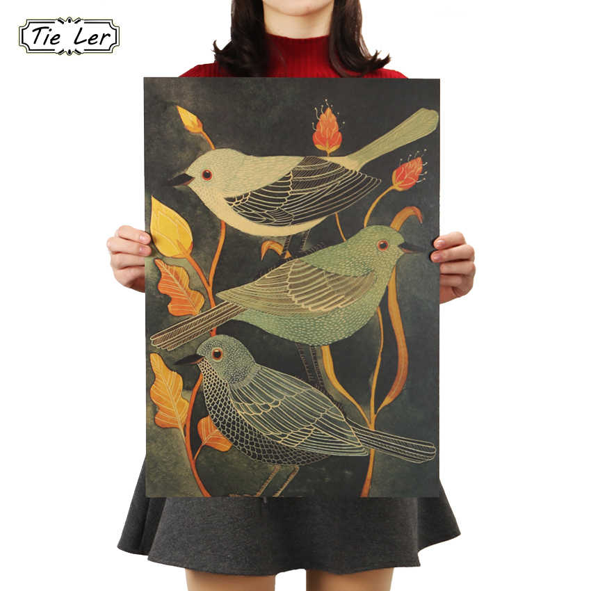 Cartel Vintage de TIE LER Nightingale Beauty Bird, pintura decorativa Retro, papel Kraft, adhesivo para pared de salón, 51.5X36cm