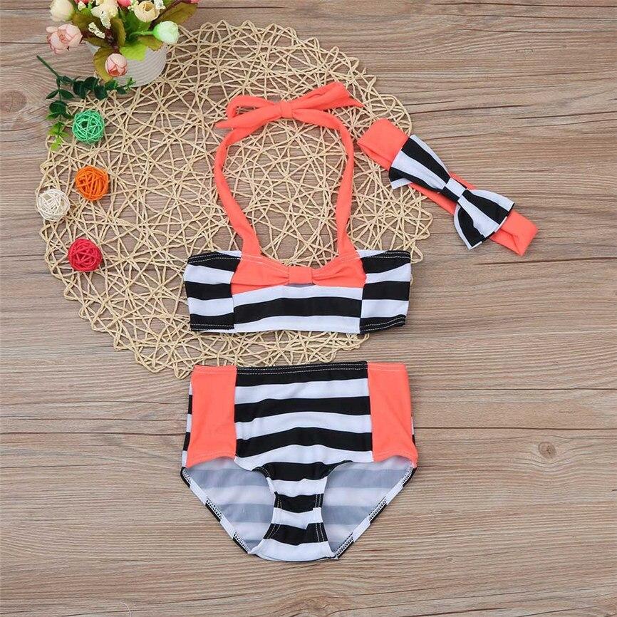 2018 New 3Pcs Kid Baby Girl Stripe Bow Swimwear Bathing Bikini Straps Set Clothes Outfits Photograph Dropshipping BTTF