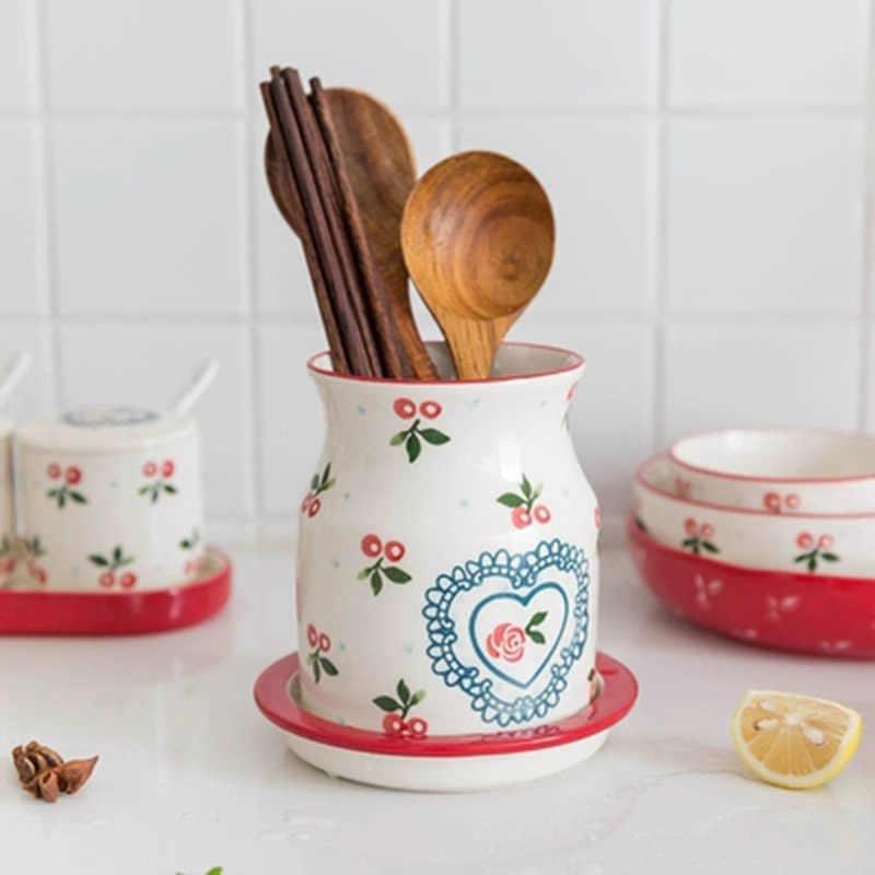 KINGLANG الكرز السيراميك التوابل جرة صندوق توابل المطبخ إمدادات التوابل خزان المنزلية استنزاف السيراميك عيدان