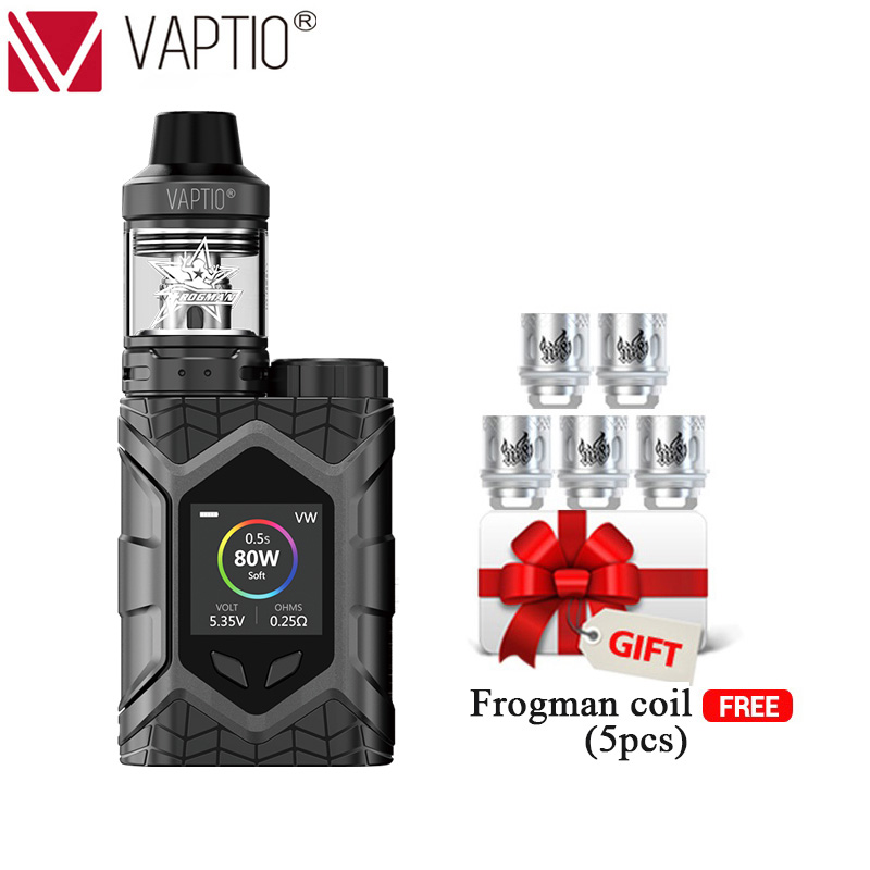 E Cigarette Vaptio Wall Crawler KIT 80W FROGMAN TANK 5.0ML Vapor Kit Support Firmware Upgradeable TCR 1.3inch Screen No battery