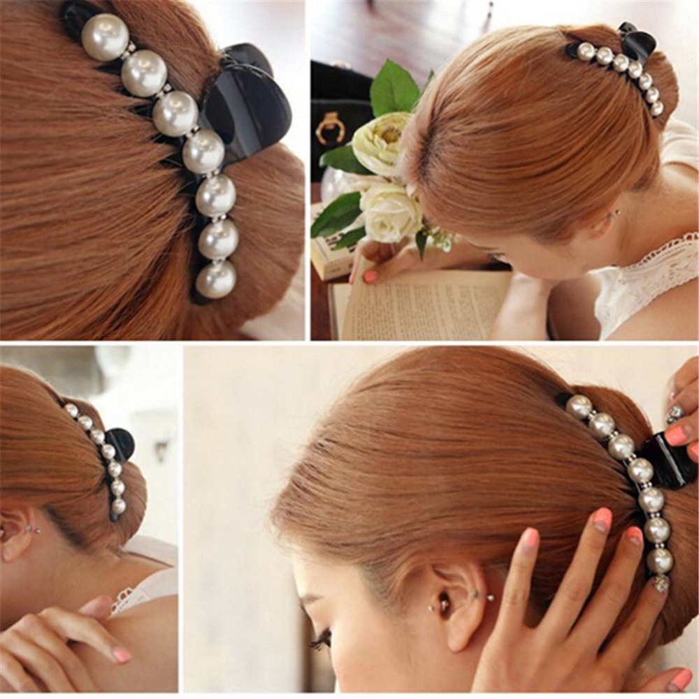 Women Fashion style barrettes romantice beautiful hair clip ladys party pearl hairband jewelry