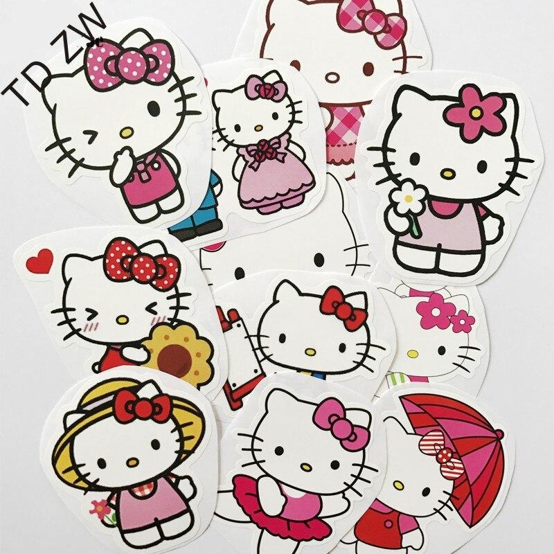 TD ZW 11PCS Japanese Anime hello kitty cat DIY car stickers Skateboard Suitcases Guitar Bike Laptop Vinyl PVC Waterproof sticker