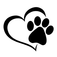 14.1*12.4CM Love The Dog Paw Print Window Decoration Decal Creative Motorcycle Car Stickers Black/Silver S1-0005