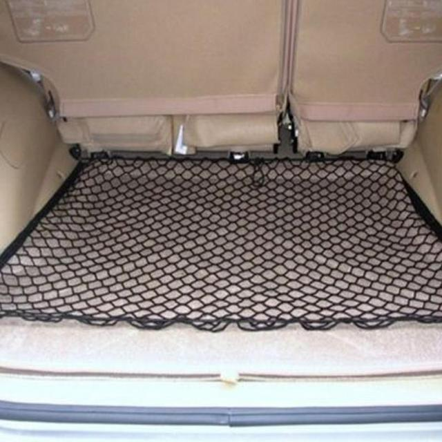 Net in the trunk of the car storage Elastic Nylon Net Pouch Mesh Debris Bags Rear Cargo Storage Bag With 4 Hooks car accessories
