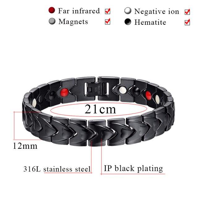 Baisse-Expédition Noir Soins de Santé En Acier Inoxydable Bracelets Avec Aimant ions Négatifs Germanium infrarouge Lointain 10140