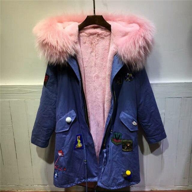 db2b3160379 Винтаж Стиль джинсовый синий куртка розовое пальто с мехом енота парка с  меховым воротником женские зима