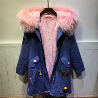Vintage Style denim blue jacket pink fur coat raccoon dog fur collar parka women winter thick warm fur outerwear