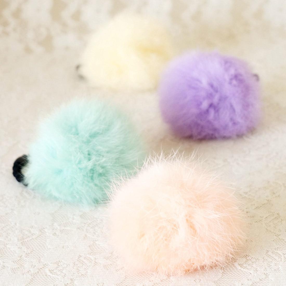 1pcs New 2018 girl hair accessories Artificial rabbit ball hair bands of fur hair gum Big girl rubber bands
