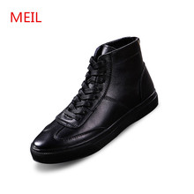 2018 New High Top Genuine Leather Boots Men Casual White Shoes Korean Version Increase Winter Zapatos De Hombre
