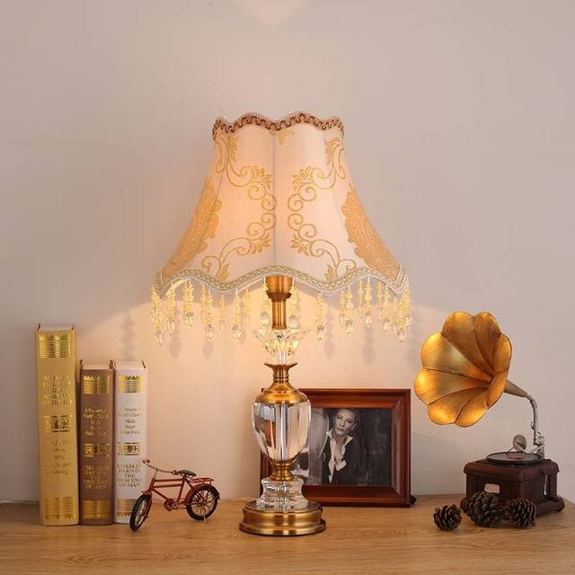 Luxury Modern Crystal Table Lamp Fabric Lampshade Living Room Bedroom  Bedside Lights Home Lighting Antique Brass