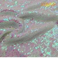 125 45CM Reversible Embroidered Mesh Lace Mermaid Sequin Fabric White Changed Sequin Fabric For Costume Events