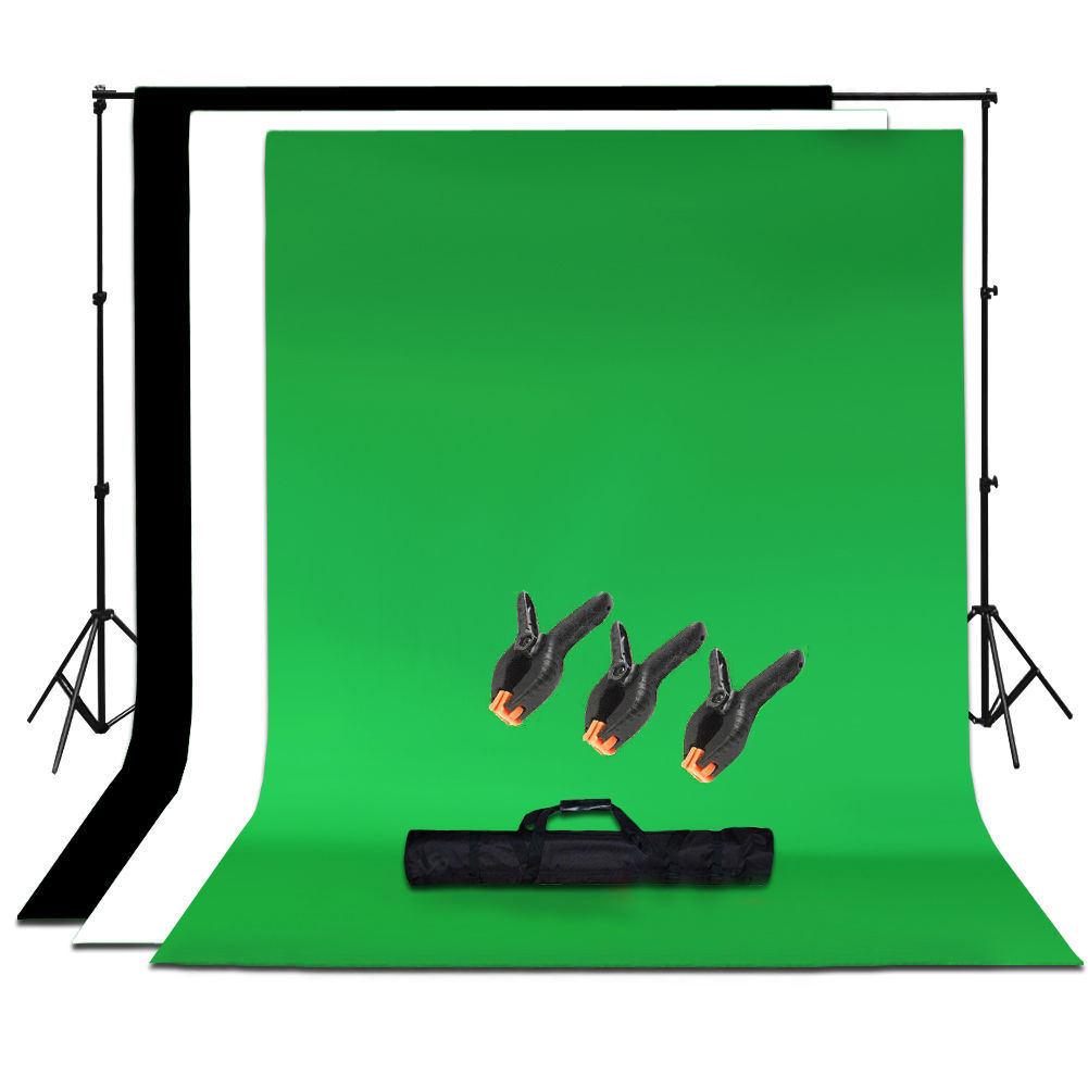 Studio Photo Black White Green Chroma Key Background Backdrop Screen Stand Kit