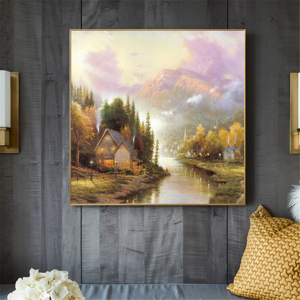 Rustic Landscape Painting Farmhouse Bridge Abstract Wall Art River Mountain Canvas Pictures for Living Room Home Decoration image