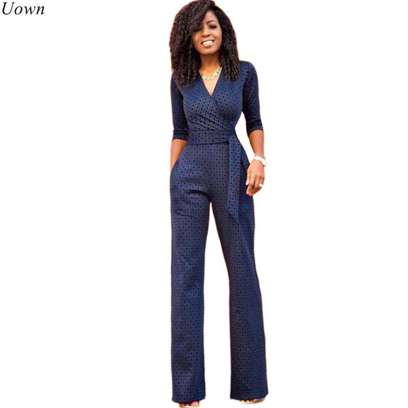 Deep V-Neck Elegant Formal Jumpsuits Women Half Sleeve Belted Business Work Bodysuits Rompers with Straight Wide Leg Pants