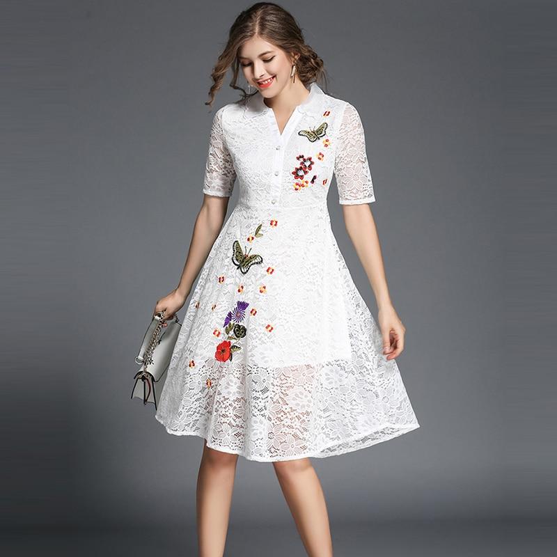 b7f6ccd892 Slim 2018 Élégantes rose Robe Casual Ciel blanc Genou Longueur Dentelle  Robes Pu Partie Évider Femmes ...