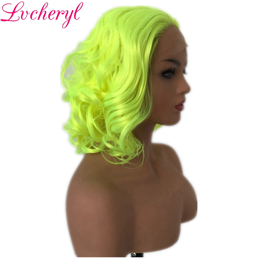 Lvcheryl Hand Tied Short Curly Style Yellow Color Heat Resistant Fiber Synthetic Front Lace Wigs For