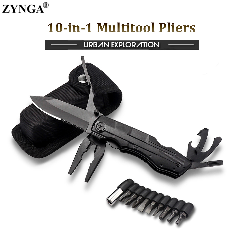 10-in-1 Multitool Pliers, Folding Knife Keychain Pliers Portable Survival Knife For Outdoor Camping Hiking Emergency Hand Tools