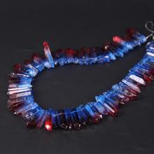 15.5/strand Blue&Red Gradient Color Titanium Raw Crystal Quartz Top Drilled Point Beads,Cut Rough Stick Pendant Jewelry
