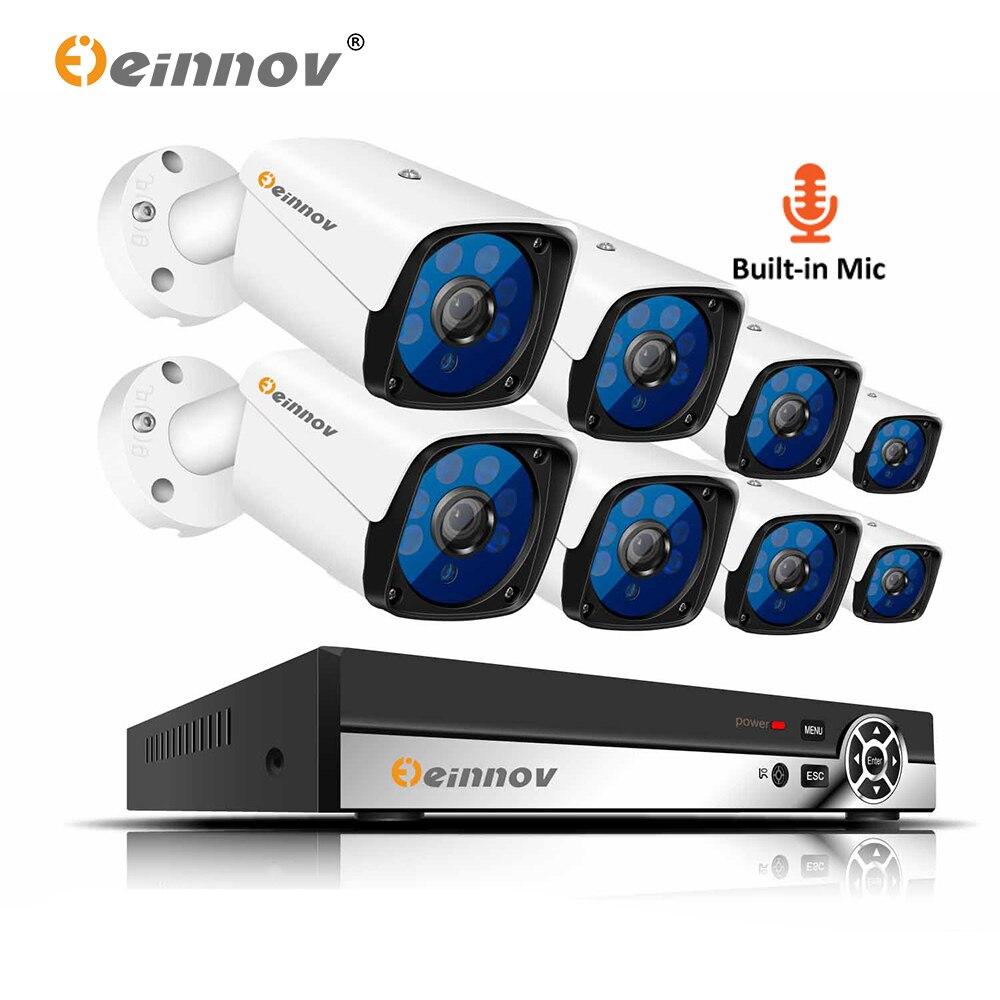 Einnov System NVR Surveillance-Cameras Audio-Record CCTV Night-Vision 1080P H.265 8CH