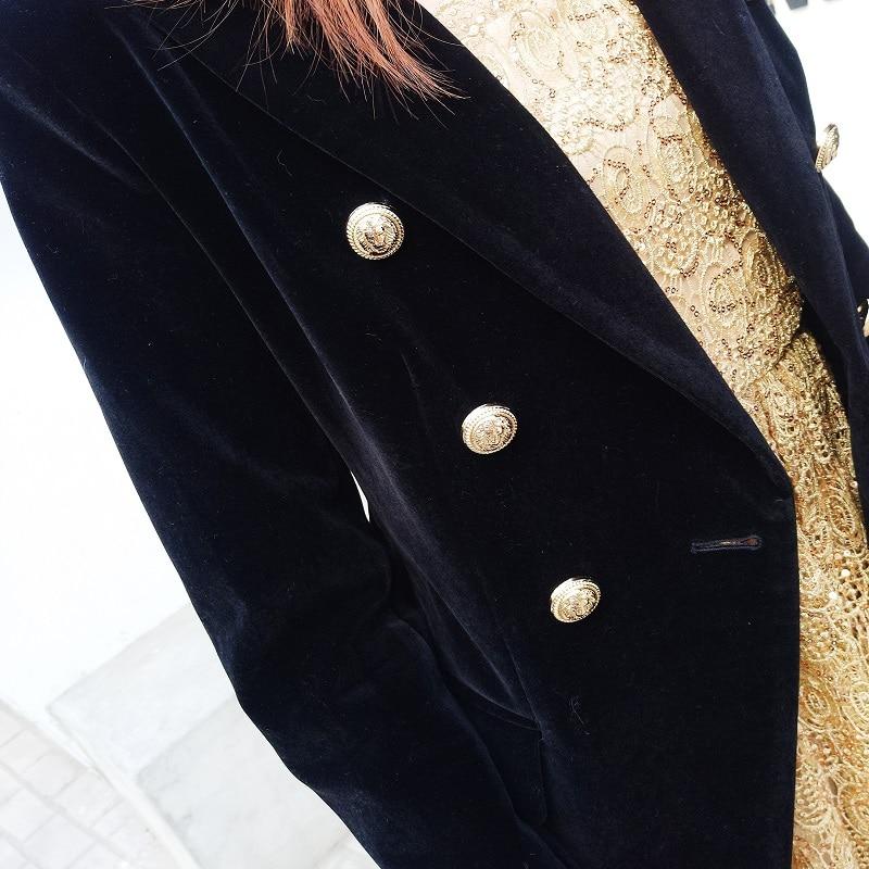 Style Double Longues Manches Pour Mode Bouton À Slim Poches Breasted Femmes De Velours Blazers Femme Noir Veste Manteau En Blazer 7cyPqwXa