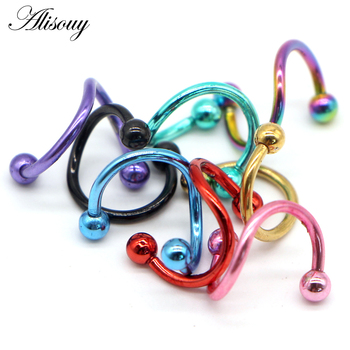 Alisouy 1 PC S Shape Ear Labret Ring Surgical Stainless Steel 2 Balls Twisted Helix Cartilage.jpg 350x350 - Alisouy 1 PC S Shape Ear Labret Ring Surgical Stainless Steel 2 Balls Twisted Helix Cartilage Earring Piercing Body Gauge 16G