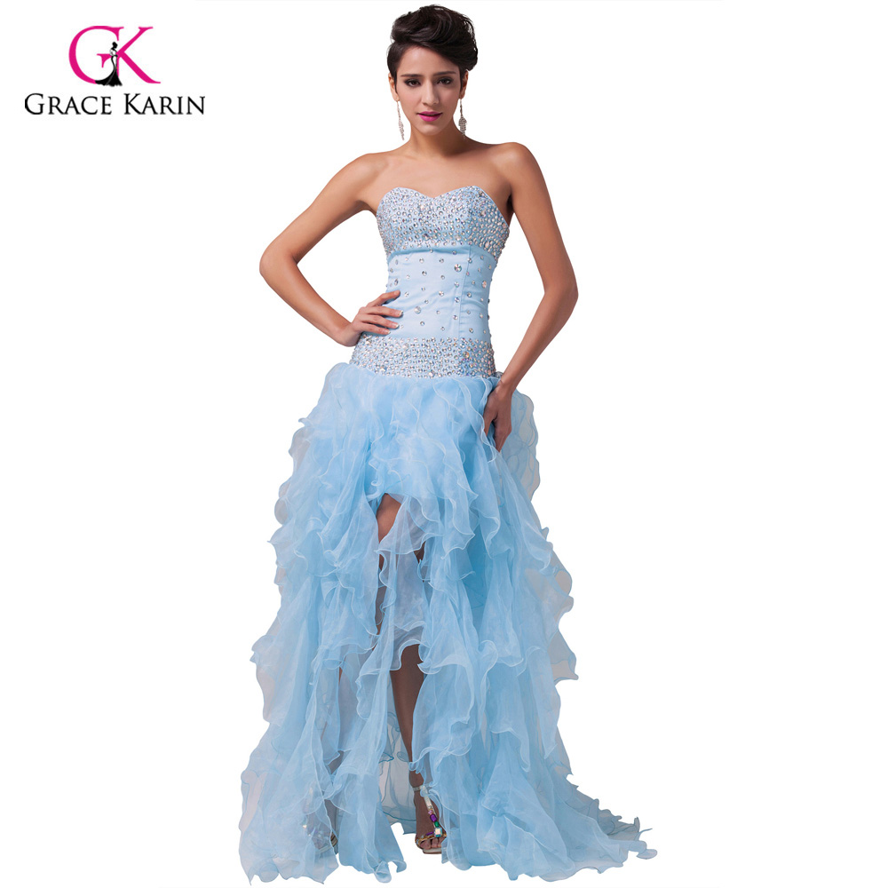 Online Shop Real Pictures Free Shipping Light Blue Strapless ...