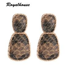 Royalhouse Print Drop Earring Tiger Leather Earring Alloy Drip Large Long Big Earrings Woman Brinco Ear Oorbellen Christmas Gift