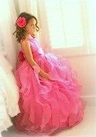 Caliente Más Nuevo Fucsia Balón vestido de Organza de Las Colmenas de Flores Niña Vestidos de Los Niños Vestidos Del Desfile de Vestidos De Desfile Niños Vestidos De Fiesta