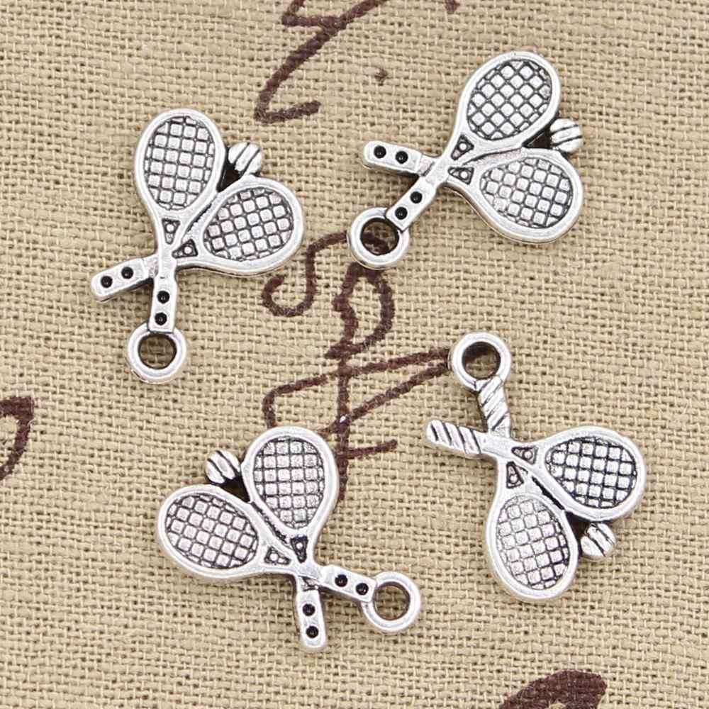 15 Uds. Amuletos raqueta de tenis 18x14mm antiguo para hacer colgantes, bronce de plata tibetana Vintage, joyería hecha a mano DIY