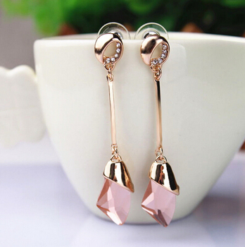 Women's Drop Crystal Earrings Earrings Jewelry Women Jewelry Metal Color: E071 pink