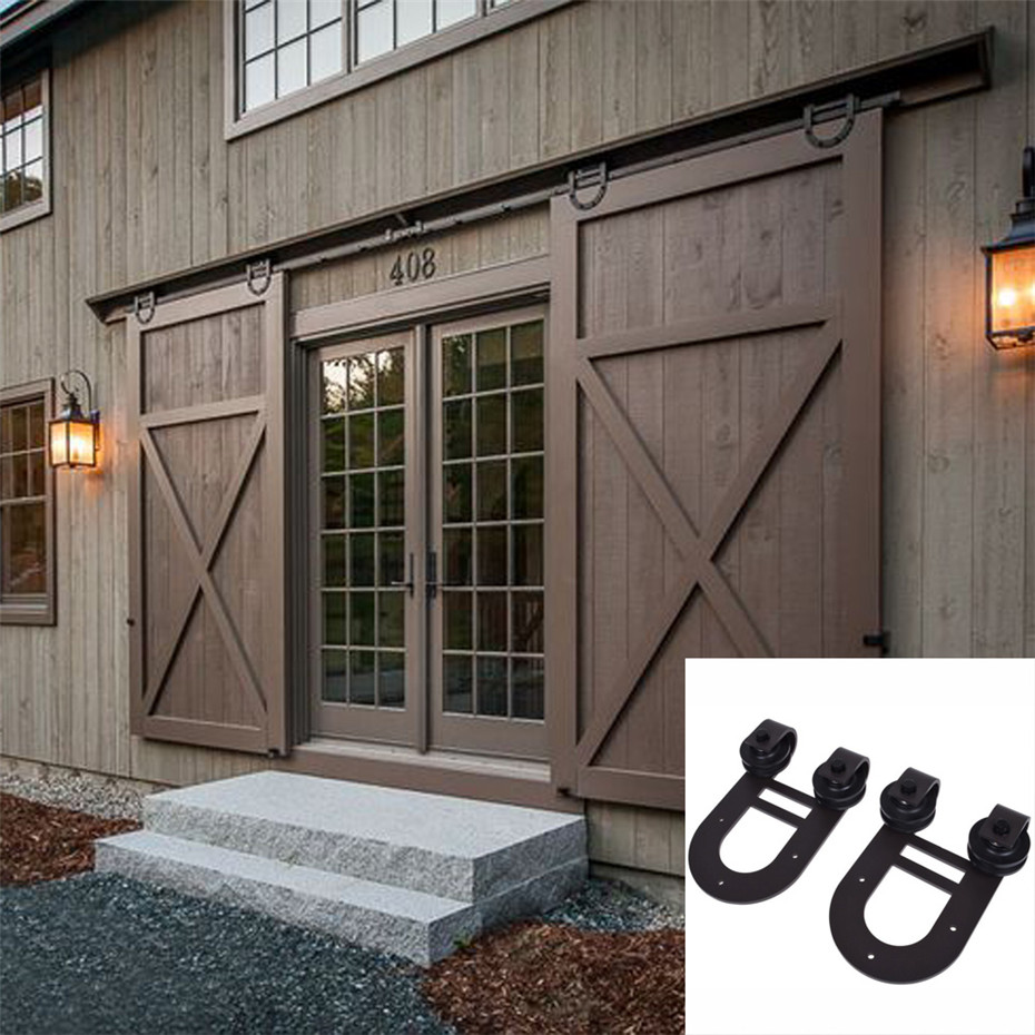 Horseshoe Rustic Black Sliding Roller Barn Double Wood Door Hardware