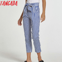 Tangada Women Elegant Striped Print Trousers Pants Summer Sashes Pockets Zippers Pants Casual Brand Mujer Straight Pants 6A24