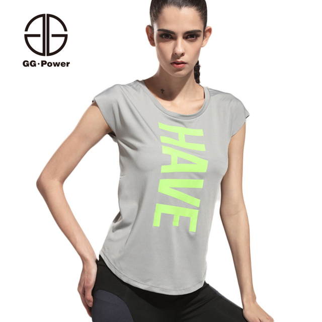 35d4c37eb POWER Letter Print Sport T shirts Women Reflective Running T shirts Gym  Shirts Yoga Jersey Tops Ladies Smock Tee Shirts Vests