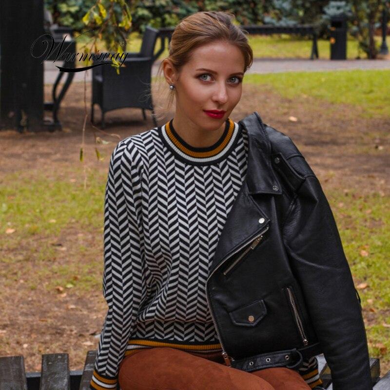 2020 새로운 하라주쿠 여성 스웨터 봄 레트로 격자 무늬 긴 소매 니트 스웨터 여성 캐주얼 풀오버 점퍼 C 246-에서풀오버부터 여성 의류 의