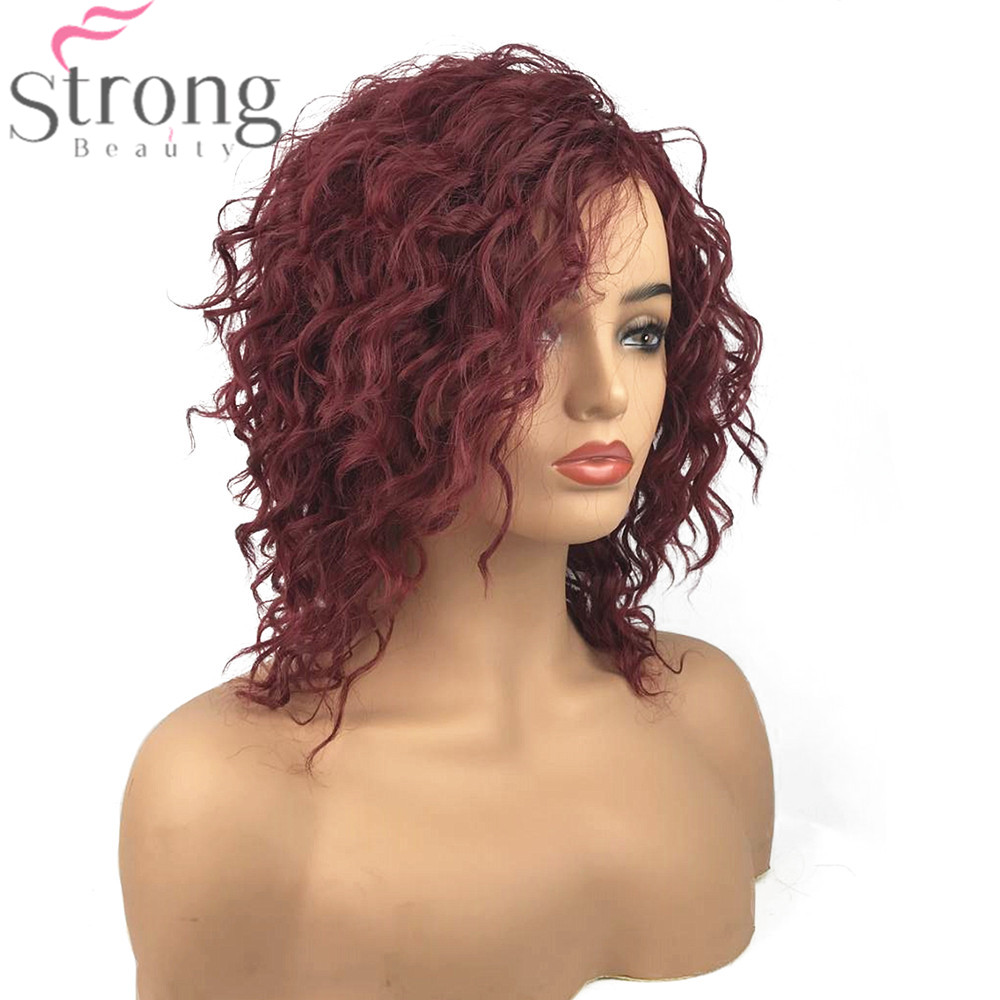 Medium Length Dark Red Curly Hair Capless Natural ...