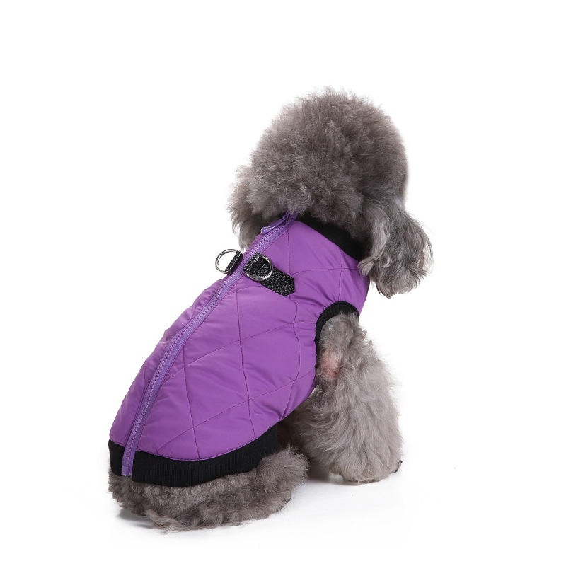 Winter Warm Pet Dog Clothes Soft Cotton Padded Vest Harness Costume for Small Dogs Purple Coat Yorkshire Terrier Chihuahua Teddy