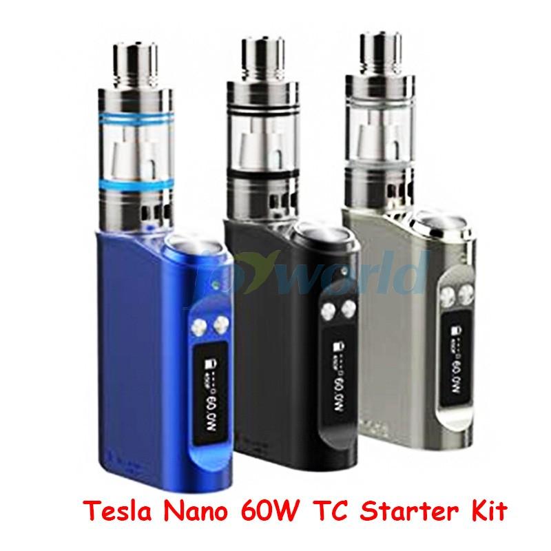 100% Authentic Tesla Nano 60W TC Box Mod Starter Kit 3600mah Battery Vapor Mod with Tornado Sub Ohm Tank vs kanger evod mega YY (5)
