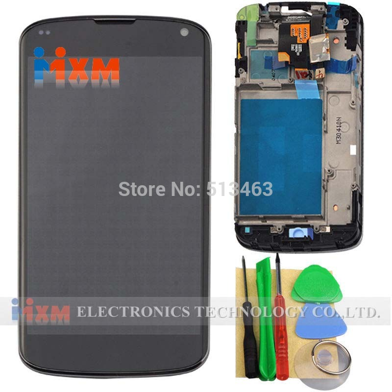 For LG Optimus Google Nexus 4 E960 LCD Display Touch Screen Digitizer with Frame Full Assembly + tool Free shipping new lcd touch screen digitizer with frame assembly for lg google nexus 5 d820 d821 free shipping
