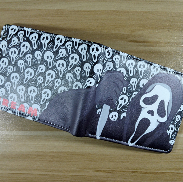 2018 horror movie Scream Logo wallets Purse Multi-Color 12cm Leather New Hot W272 2018 games pacman games logo wallets purse multi color leather new hot w199