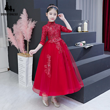 Autumn Winter Girls Kids Wine-red Color Elegant Princes Dress Clothing Children's Evening Party Wear Birthday Wedding Prom Dress