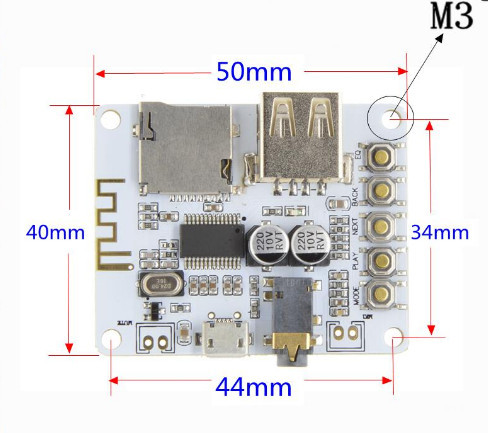 Bluetooth Audio Receiver board with USB TF card Slot decoding playback preamp output A7-004 5V 2.1 Wireless Stereo Music Module 2
