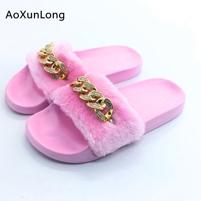 6f3709d64 Autumn Women's Slippers Indoor Real Rabbit Hair Women Slippers Fashion  Diamond Flat Casual Shoes Woman 4 Models Size Eur 36-40