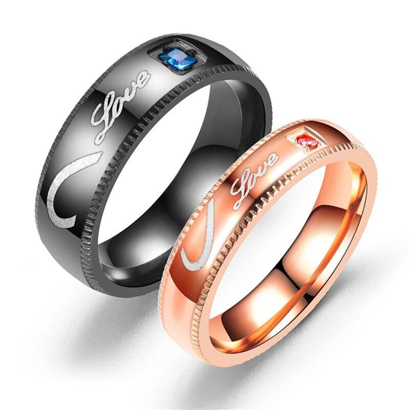 BOAKO Fashion Titanium Black Men Ring Forever Love Blue Zircon Engagement Rings for Women Men Jewelry Promise Rings for Couples