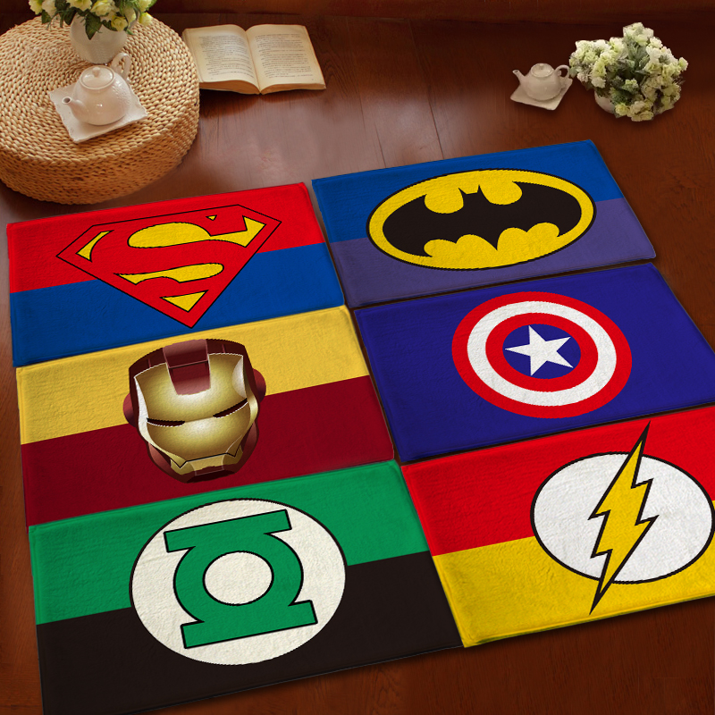 Kids Children Superhero Cartoon Carpets Modern Rugs And