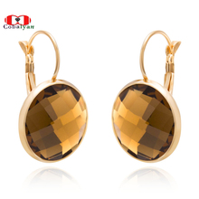 6 Colors Austrian SWA Crystal Round Moon Fashion Jewelry Women Girl Drop Earrings Rose Gold Color,Wholesale Factory Price(China)