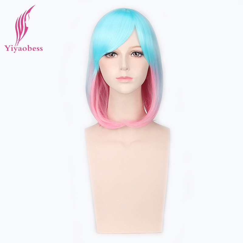 Yiyaobess 12inch Synthetic Light Blue Pink Mix Color Wig Bang Heat Resistant Straight Ombre Bob Wigs Cosplay For Women