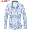 LONMMY M-7XL Floral shirt men Long sleeve plus size Mens dress shirts slim fit mens shirts Fashion flower print camisa social