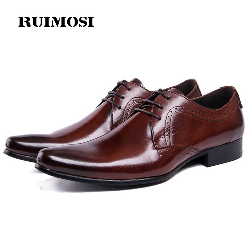 RUIMOSI Luxury Man Formal Dress Shoes Genuine Leather Male Derby Oxfords Famous Pointed Toe Men's Wedding Bridal Flats DK16
