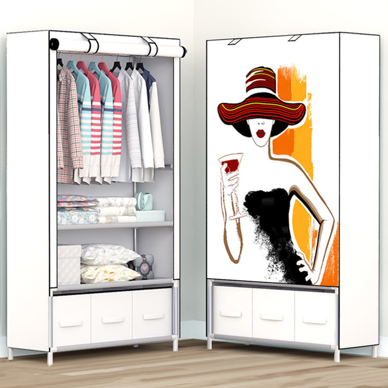 Minimalist Creative Assembly Saves Space Accommodates Modern Portable Closets Bedroom Furniture Multi-Function Wardrobe Closets